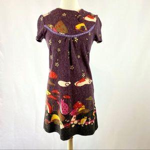 New Look Kitty Print Short Sleeve Purple Dress